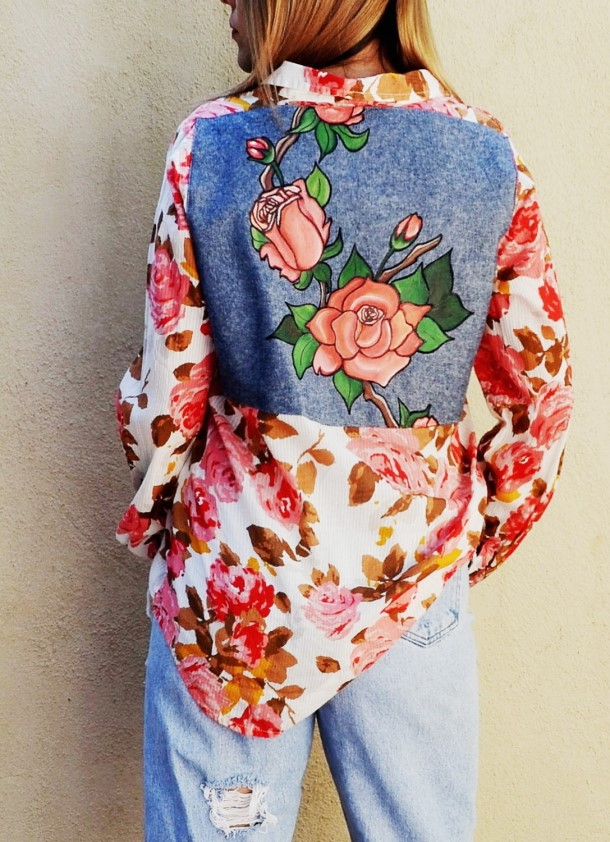 Vintage hand painted rose top. Ready to ship.