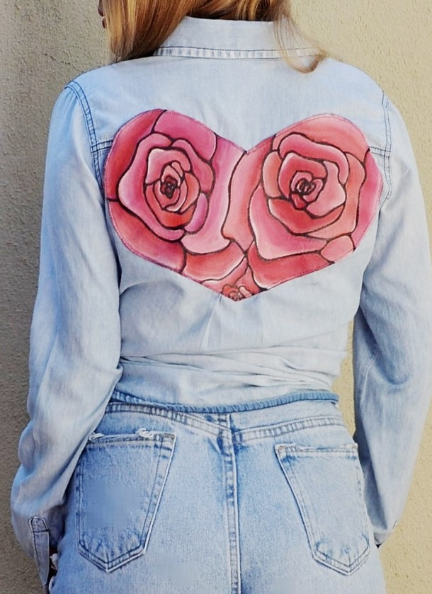 Hand painted rose heart denim top for her. Ready to ship.