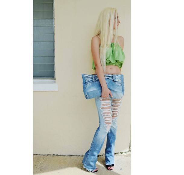 Extreme shredded jeans.