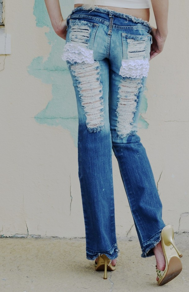 Shredded corset and lace jeans. Custom.