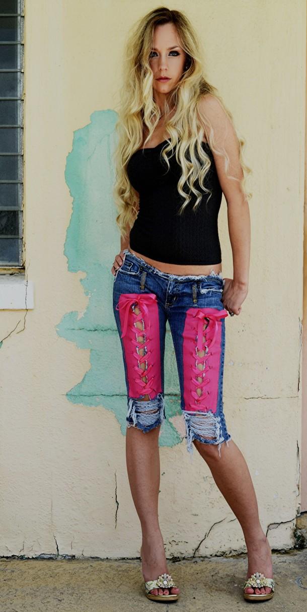 Hot pink painted corset capri jeans. CUSTOM.