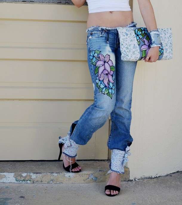 Blue floral jeans, harem style. Custom.