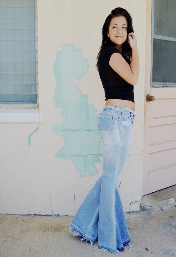 Ripped Bell Bottom jeans. Custom.