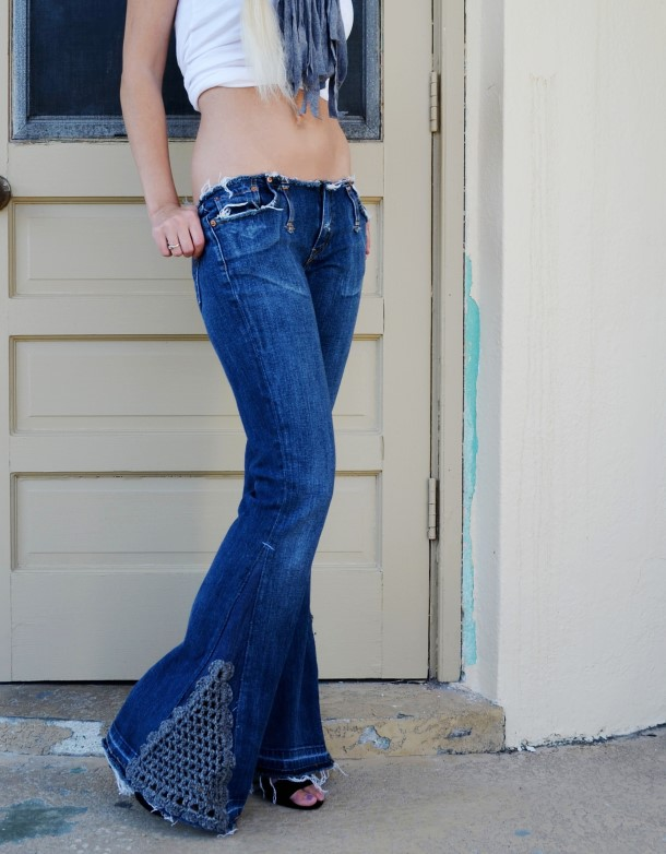 Bell bottom jeans with crocheted detail. Custom.