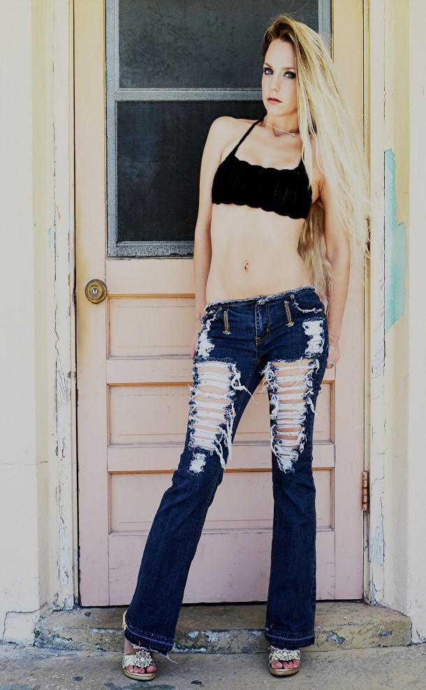 Extreme shredded jeans. Dark denim. Ready to ship.