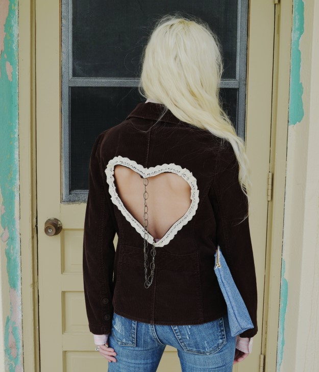 Corduroy blazer with heart cut out. Vintage lace. Chain.