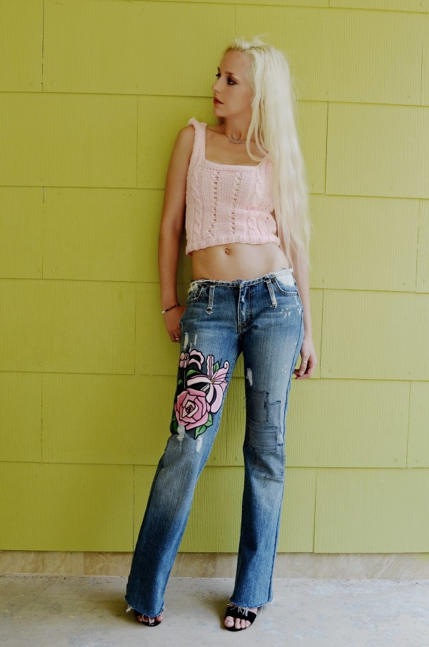 Floral painted and patched jeans. Ready to ship.