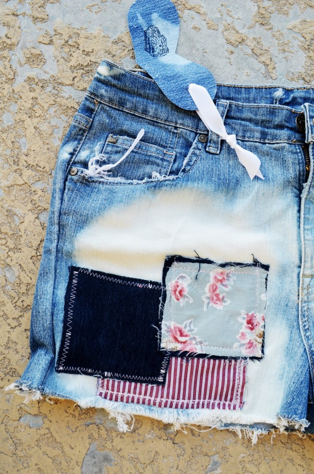 Patched denim shorts. Size 12.