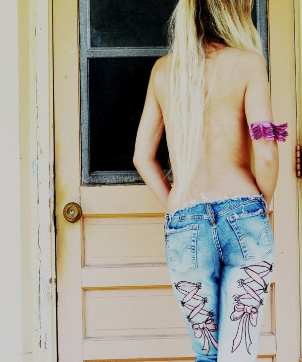 Painted corset tattoo jeans. Custom.