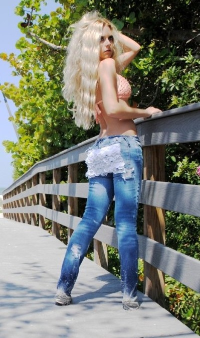 Lace ruffle butt jeans. Custom. Denim.