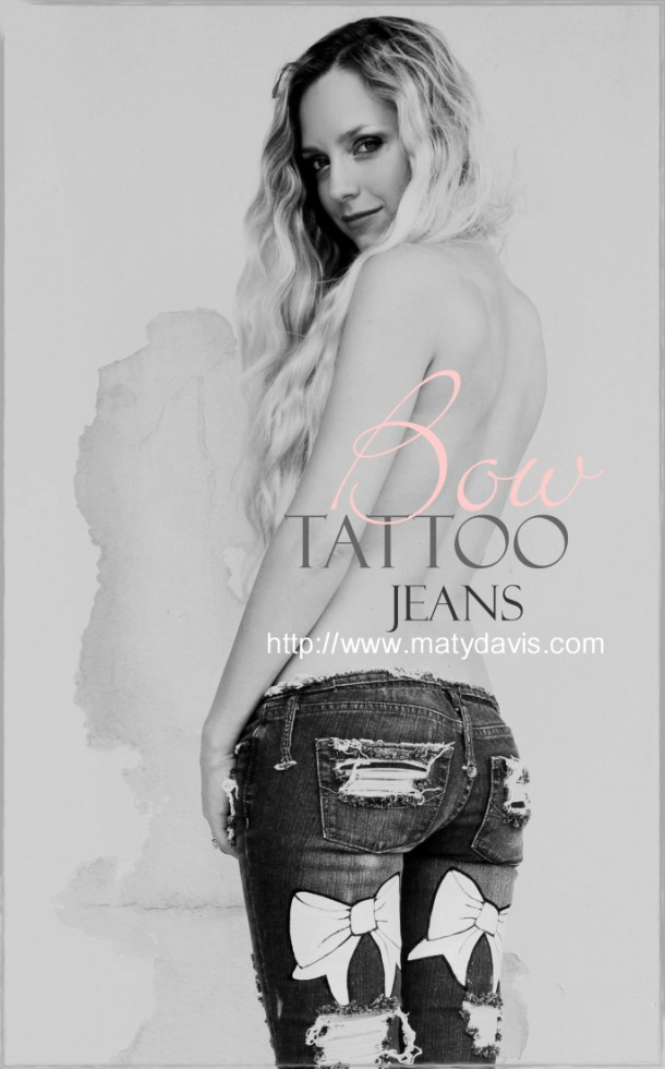 Bow tattoo jeans. Custom. All sizes.
