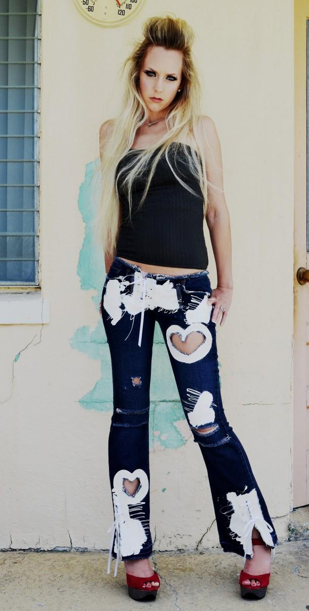 Snow White Sweetheart jeans. Custom.