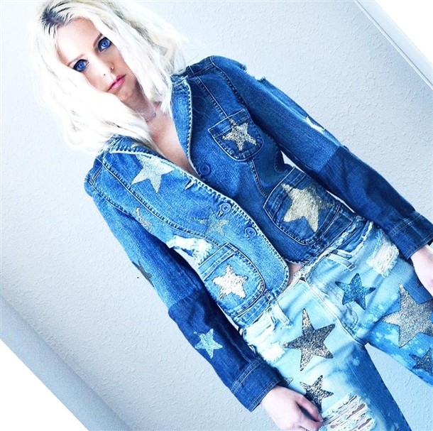 Silver and Gold stars denim jacket. Ready to ship.