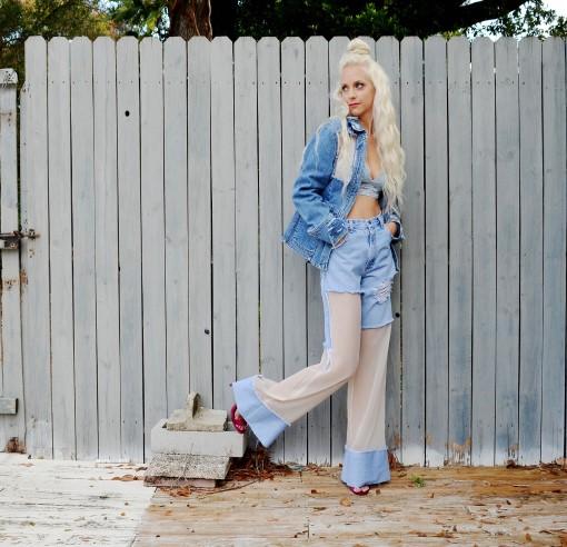 Sheer wide bell jeans. High waist. Custom.