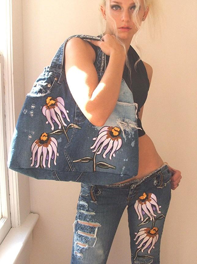 Wild flower painted jeans. Custom