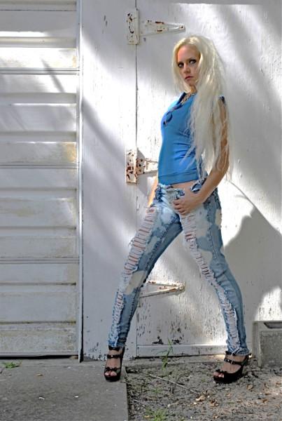 Super shredded skinny jeans. Custom.