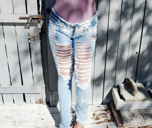 Extreme shredded skinnies. Ready to ship.