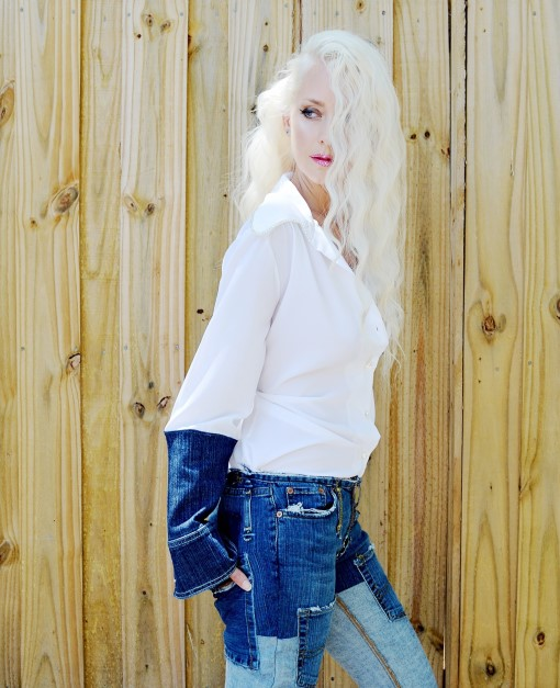 White blouse with denim sleeves. Ready to ship.