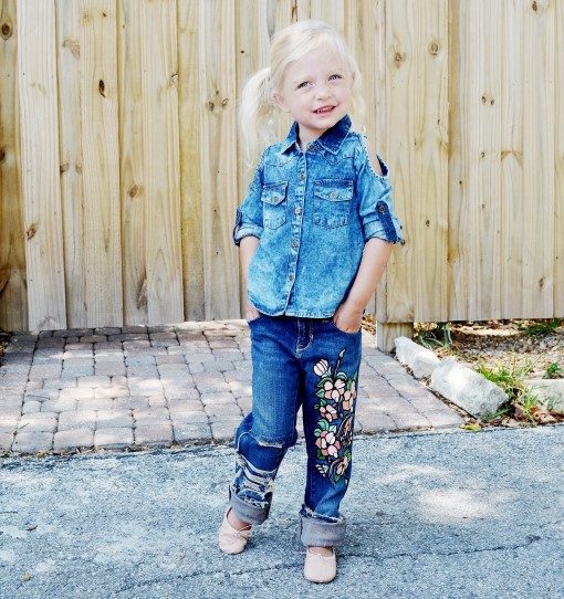 Girls floral painted jeans. Ready to ship.