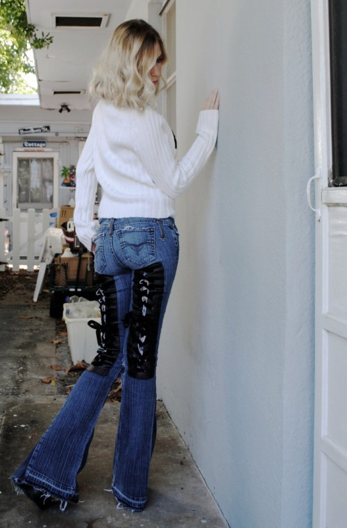 Painted Corset bell bottom jeans. Custom.