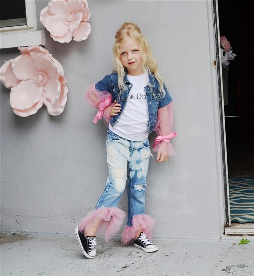 Denim ballet jacket with tulle sleeves. Girls. Ready to ship.