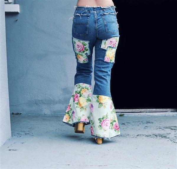 Spring Floral jeans. Bells. Custom.