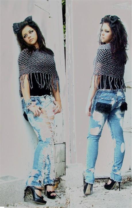 Shredded Lace skinny jeans. Custom
