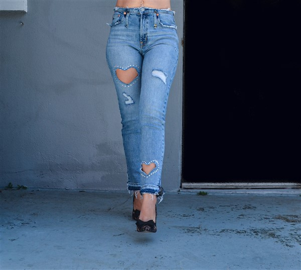 Swarovski Sweetheart jeans. Custom.