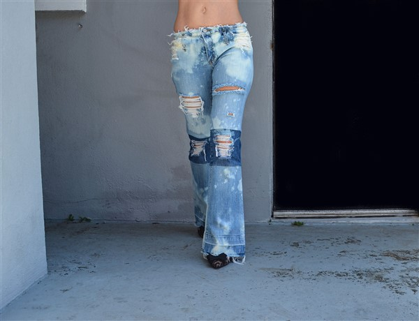 Two toned bleached jeans. Custom.