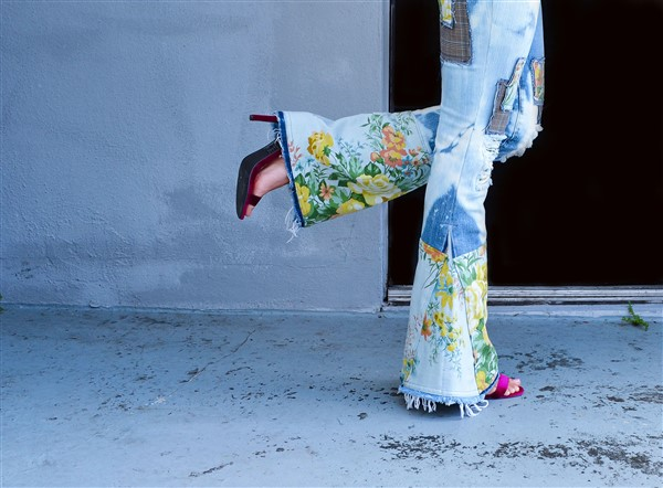 Floral patched bell bottoms. Custom.