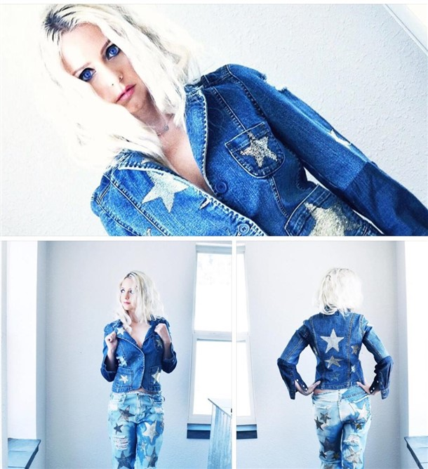 Silver and Gold Stars jean jacket. Custom.