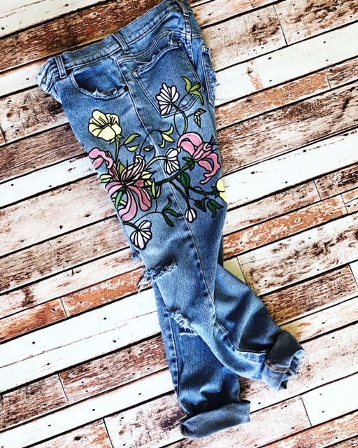 Floral painted boyfriend jeans. Ready to ship.