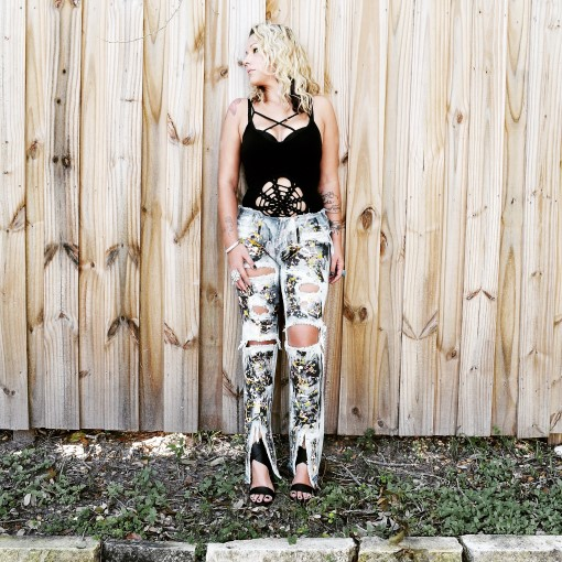 Bleached and splatter painted jeans. Custom.