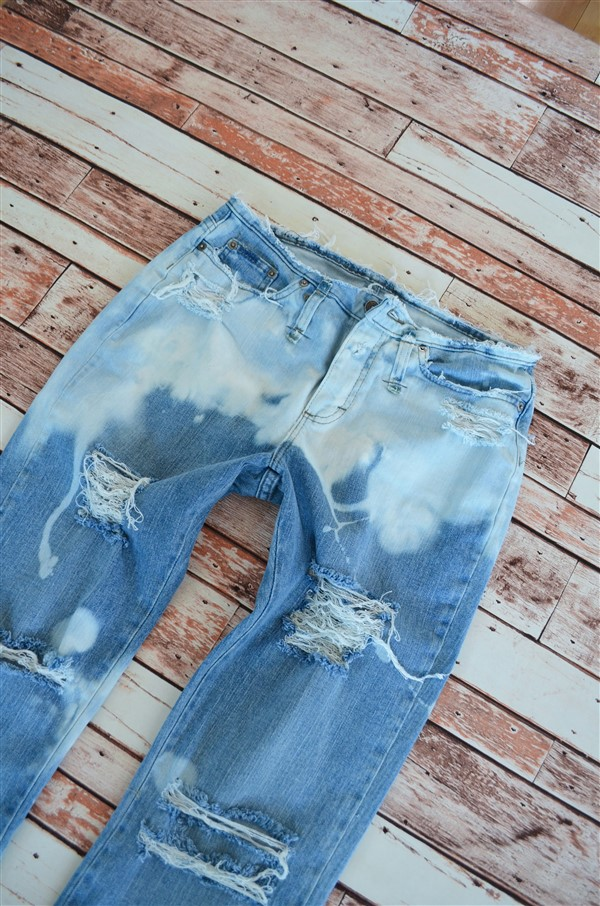 Bleached out flared jeans. Size 8/10.